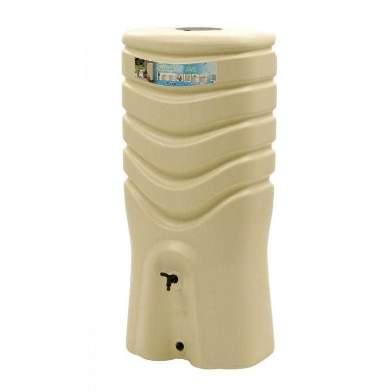 Plastový sud na dešťovou vodu s kohoutkem béžový objem 350 litrů Lienbacher - vše pro venkovní posezení na zahradě a na terase
