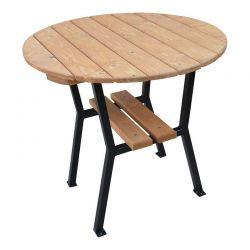 Stůl zahradní kulatý 80 cm dřevo a ocel