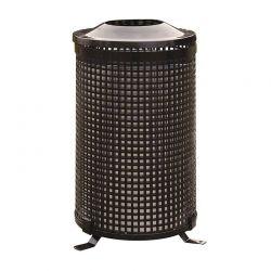Venkovní kovový odpadkový koš kulatý