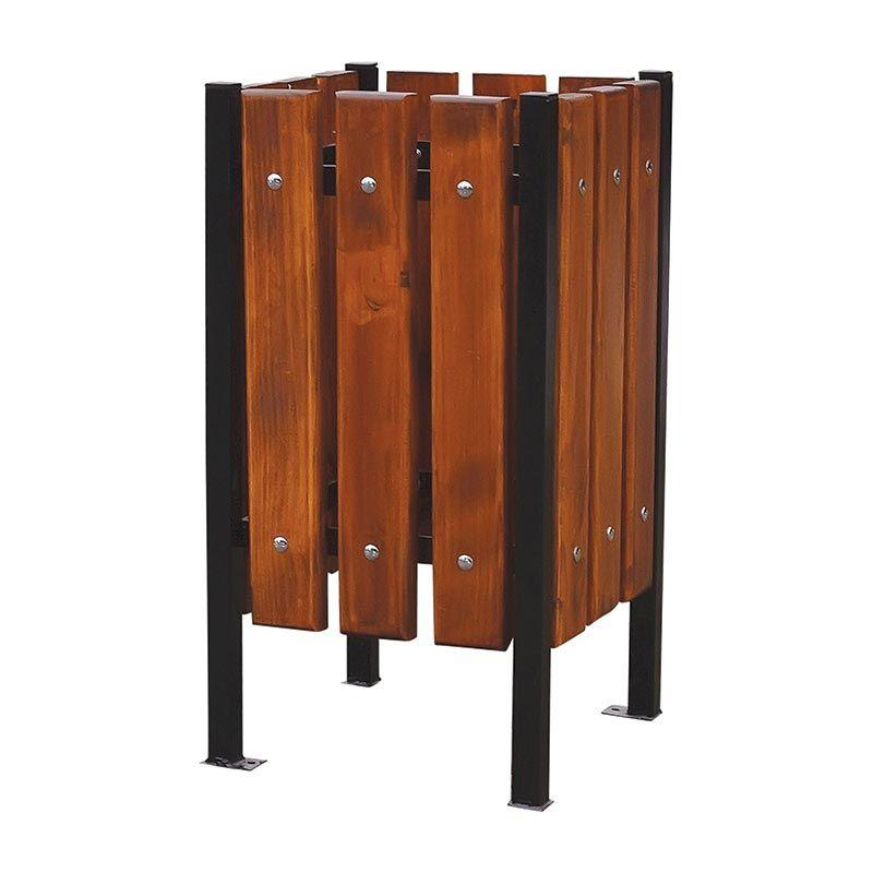 Venkovní odpadkový koš čtvercový dřevo a ocel RB Garden - vše pro venkovní posezení na zahradě a na terase