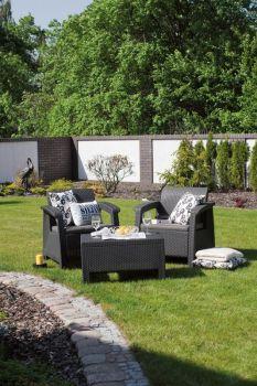CORFU WEEKEND set antracit + šedé podušky Allibert - vše pro venkovní posezení na zahradě a na terase