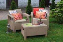 CORFU WEEKEND set, cappuccino + pískové podušky Allibert - vše pro venkovní posezení na zahradě a na terase