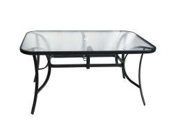 Stůl kovový 150x90 průhledné sklo