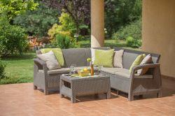 CORFU RELAX - cappuccino + pískové podušky Allibert - vše pro venkovní posezení na zahradě a na terase