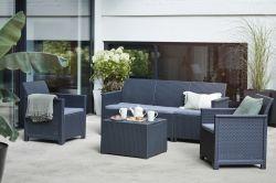 EMMA set 3 místná sedačka grafit - zahradní sestava Allibert - vše pro venkovní posezení na zahradě a na terase