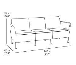 SALEMO 3 seater sofa - cappuccino Allibert - vše pro venkovní posezení na zahradě a na terase