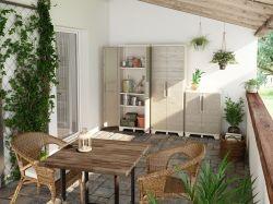 WOOD GRAIN LOW skříňka Keter - vše pro venkovní posezení na zahradě a na terase