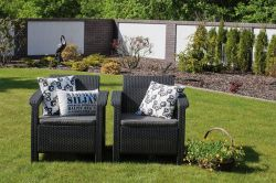 CORFU set grafit + šedé podušky - zahradní sestava Allibert - vše pro venkovní posezení na zahradě a na terase