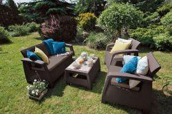 CORFU set hnědý + šedohnědé podušky Allibert - vše pro venkovní posezení na zahradě a na terase