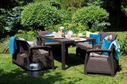 CORFU FIESTA set - hnědá + šedohnědé p. Allibert - vše pro venkovní posezení na zahradě a na terase