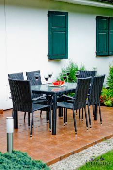 Zahradní jídelní set ratanový 6+1 AVVICENTE černá Bello Giardino - vše pro venkovní posezení na zahradě a na terase