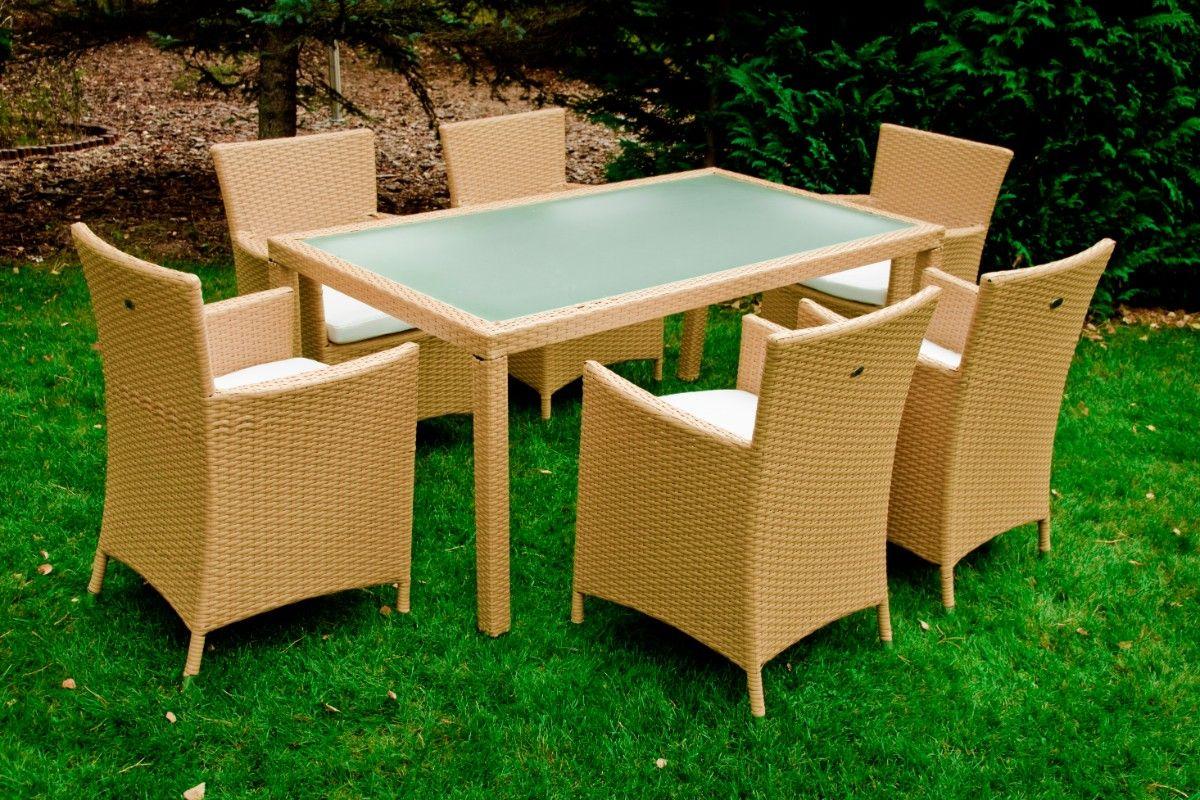 Zahradní jídelní set ratanový 6+1 Capitale béžová Bello Giardino - vše pro venkovní posezení na zahradě a na terase