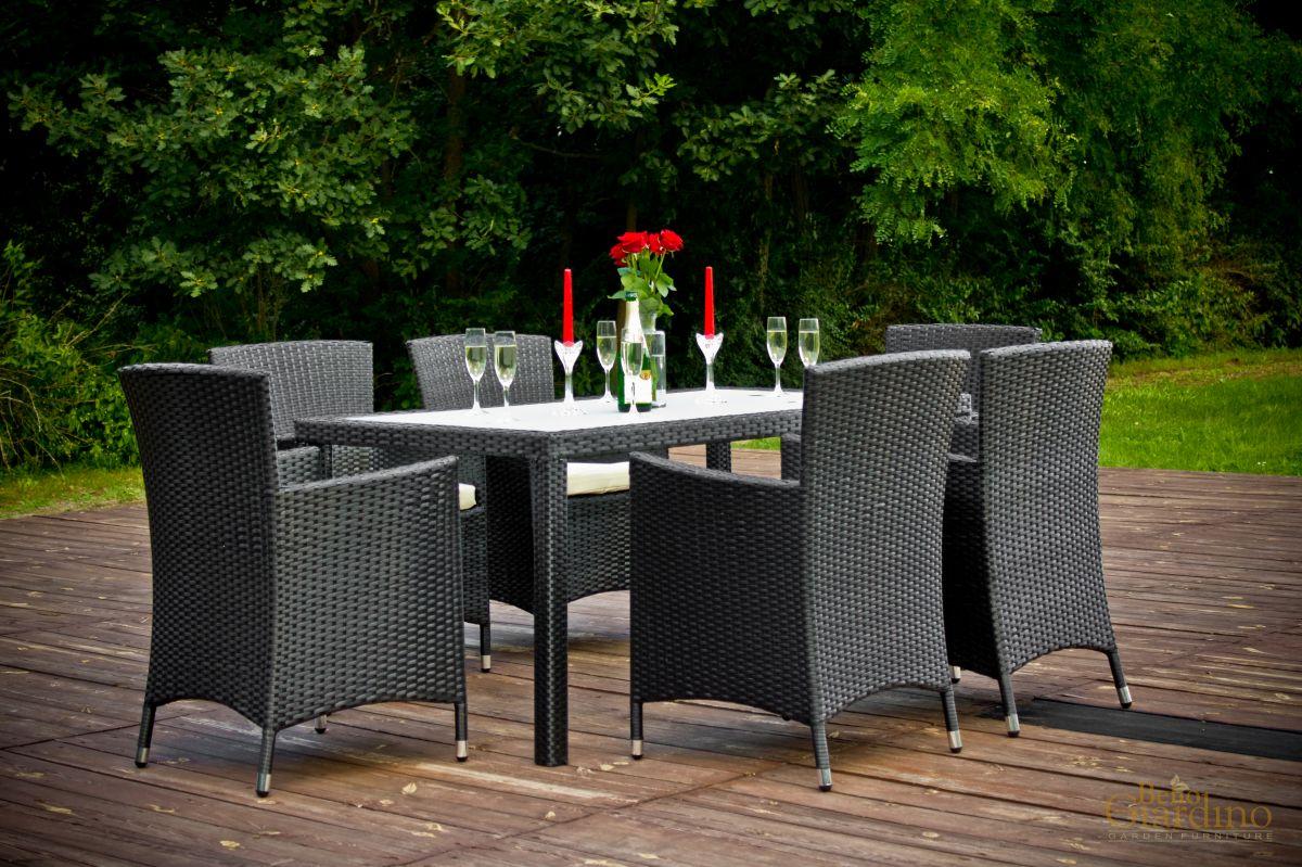 Zahradní jídelní set ratanový 6+1 Capitale černá Bello Giardino - vše pro venkovní posezení na zahradě a na terase