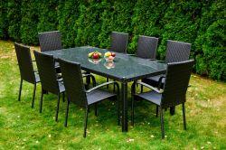 Zahradní jídelní set ratanový 8+1 SOTTILE černá