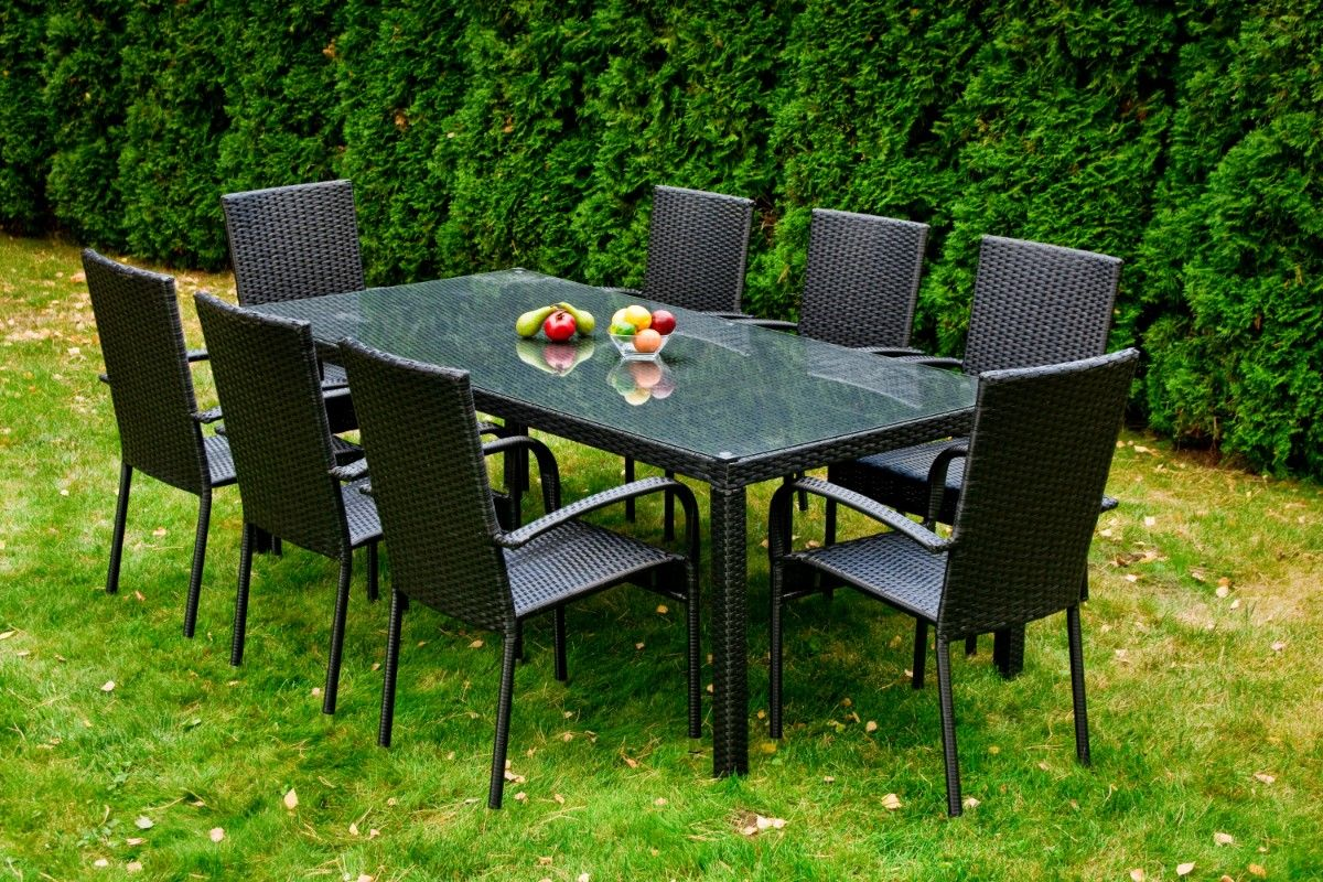 Zahradní jídelní set ratanový 8+1 SOTTILE černá Bello Giardino - vše pro venkovní posezení na zahradě a na terase