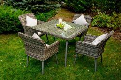 Zahradní jídelní set ratanový BASSO šedá Bello Giardino - vše pro venkovní posezení na zahradě a na terase