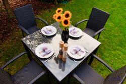 Zahradní jídelní set ratanový ECCELLENTE černá Bello Giardino - vše pro venkovní posezení na zahradě a na terase