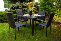 Zahradní jídelní set ratanový ECCELLENTE černá