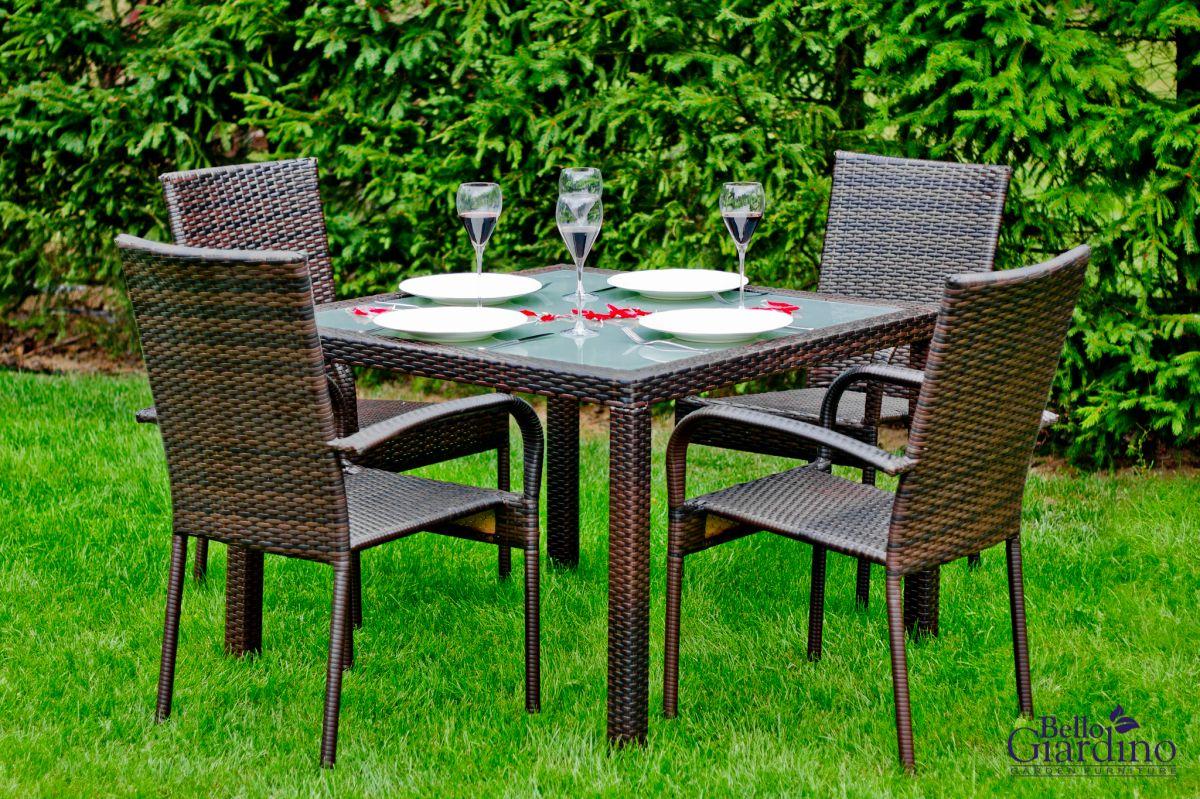 Zahradní jídelní set ratanový ECCELLENTE hnědá Bello Giardino - vše pro venkovní posezení na zahradě a na terase