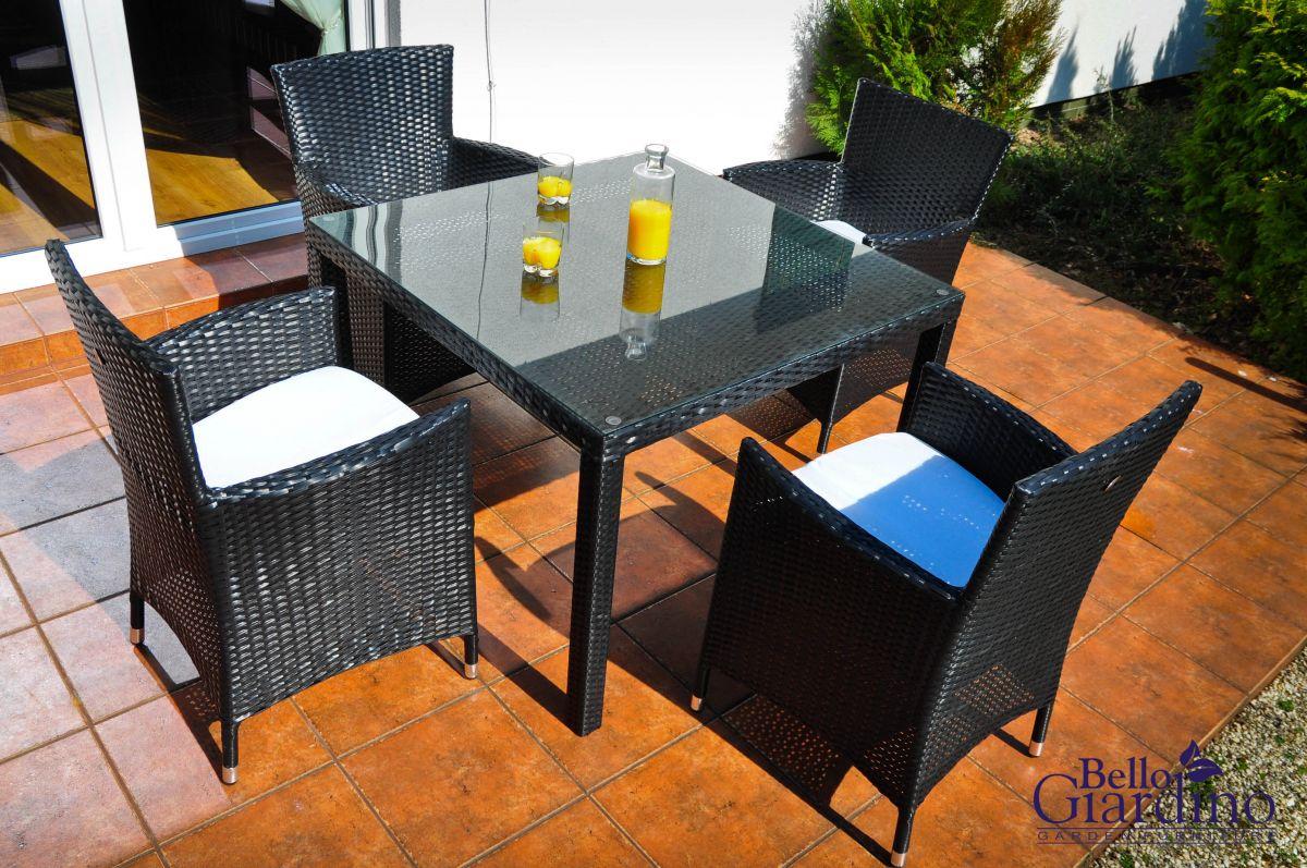 Zahradní jídelní set ratanový PAZZO černá Bello Giardino - vše pro venkovní posezení na zahradě a na terase
