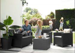 EMMA 2 seaters sofa set - grafit Keter - vše pro venkovní posezení na zahradě a na terase