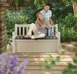 Zahradní lavice PATIO bílá s úložným prostorem Keter - vše pro venkovní posezení na zahradě a na terase