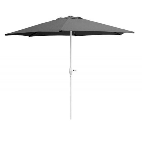 Slunečník kulatý s kličkou 230 cm, antracit, bílá tyč Happy Green - vše pro venkovní posezení na zahradě a na terase
