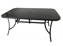 Stůl kovový 150 x 90 černé sklo