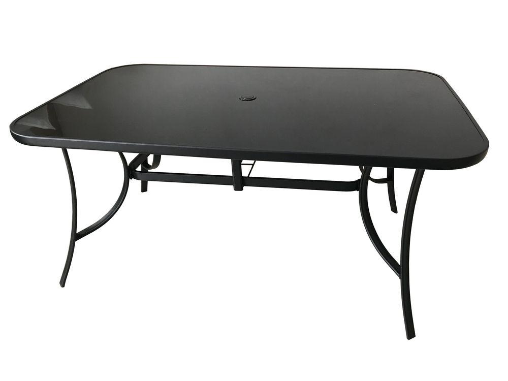 Stůl kovový 150 x 90 černé sklo Rojaplast - vše pro venkovní posezení na zahradě a na terase