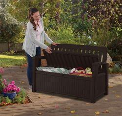 Zahradní lavice PATIO hnědá s úložným prostorem Keter - vše pro venkovní posezení na zahradě a na terase