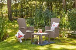 Zahradní polohovací křeslo VERMONT - cappuccino + pískové podušky Allibert - vše pro venkovní posezení na zahradě a na terase