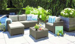 Zahradní sedací set MOOREA cappuccino + pískové podušky Allibert - vše pro venkovní posezení na zahradě a na terase