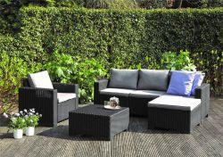 Zahradní sedací set MOOREA grafit + šedé podušky Allibert - vše pro venkovní posezení na zahradě a na terase