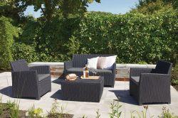 Zahradní souprava CORONA+BOX - grafit + šedé podušky Allibert - vše pro venkovní posezení na zahradě a na terase