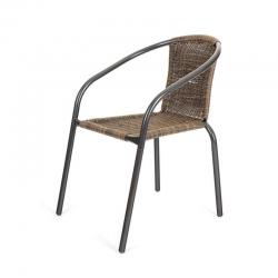 Zahradní židle kovová ratan hnědý