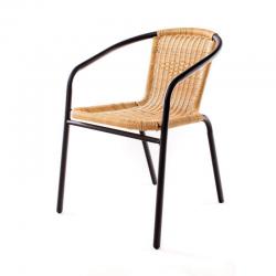 Zahradní židle kovová ratan světlý