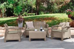 CORFU set - cappuccino + pískové podušky Allibert - vše pro venkovní posezení na zahradě a na terase