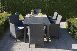 IOWA (MONTANA) křeslo - grafit + šedé podušky Allibert - vše pro venkovní posezení na zahradě a na terase