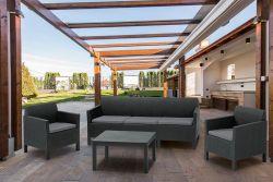 ORLANDO 3 SOFA grafit+šedé podušky Allibert - vše pro venkovní posezení na zahradě a na terase