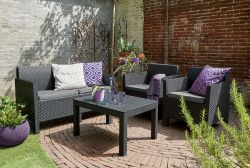 ORLANDO + SMALL TABLE - grafit+šedé podušky Allibert - vše pro venkovní posezení na zahradě a na terase