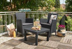SALVADOR BALCONY set - antracit + šedé podušky Allibert - vše pro venkovní posezení na zahradě a na terase
