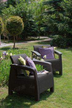 CORFU DUO - antracit + šedé podušky Allibert - vše pro venkovní posezení na zahradě a na terase