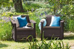 CORFU DUO - hnědá + šedohnědé podušky Allibert - vše pro venkovní posezení na zahradě a na terase