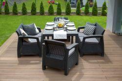 CORFU FIESTA set - antracit + šedé podušky Allibert - vše pro venkovní posezení na zahradě a na terase