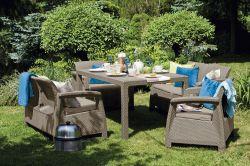 CORFU FIESTA set - cappuccino + pískové p. Allibert - vše pro venkovní posezení na zahradě a na terase