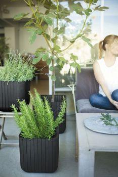květináč CUBE PLANTER M hnědý Keter - vše pro venkovní posezení na zahradě a na terase