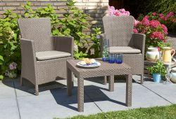 SALVADOR BALCONY set - cappuchino + pískové podušky Allibert - vše pro venkovní posezení na zahradě a na terase