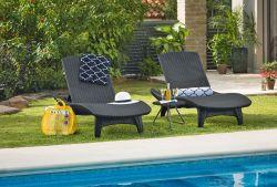 Zahradní set lehatka PACIFIC grafit + stolek Keter - vše pro venkovní posezení na zahradě a na terase