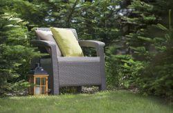 CORFU křeslo - grafit + šedá poduška Allibert - vše pro venkovní posezení na zahradě a na terase