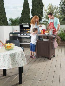UNITY 105L stůl hnědý Keter - vše pro venkovní posezení na zahradě a na terase